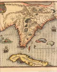 Map of Florida circa 1500 1600 239x300 Dentist in Tampa, what is Tampa Bay Florida?